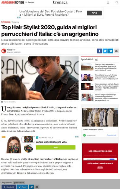 La nota testata giornalistica AREZZONOTIZIE, pubblica il Migliore Parrucchiere di Sciacca - Agrigento