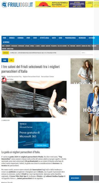 Friuli Venezia Giulia pubblica l'elenca dei migliori parrucchieri TOPHAIRSTYLISTS 2020